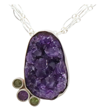 Load image into Gallery viewer, amethyst geode from Uruguay deluxe pendant