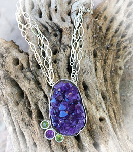 peridot and amethyst gemstone pendant handmade in Arizona