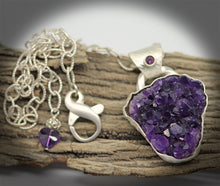 Load image into Gallery viewer, statement jewelry. rustic yet refined jewelry. amethyst geode