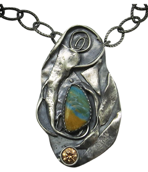 sterling pendant with peruvian opal gemstone