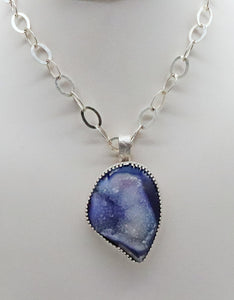 Ocean Waves Druzy Quartz  Pendant.