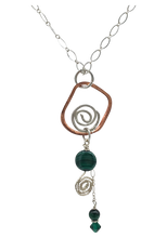 Load image into Gallery viewer, copper and sterling open spiral pendant with malachite