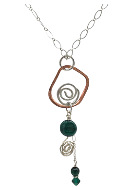 copper and sterling open spiral pendant with malachite