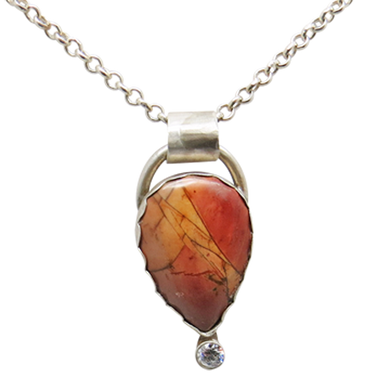 sterling pendant with red creek jasper gemstone