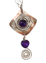 Load image into Gallery viewer, amethyst gemstone pendant with spiral