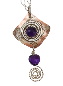 amethyst gemstone pendant with spiral