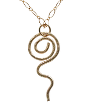 "Load image into Gallery viewer, Gold Fill Pendant. Sacred Spiral Collection 2"" long."