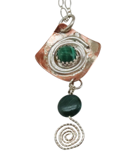 Load image into Gallery viewer, malachite gemstone spiral pendant