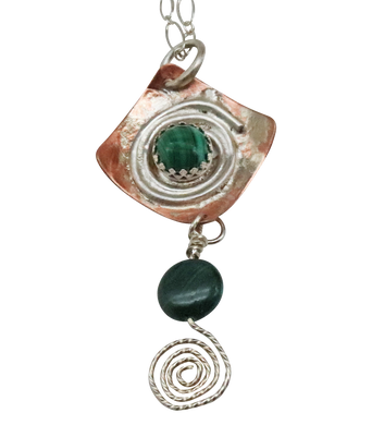 malachite gemstone spiral pendant