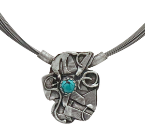 Southwest Splendor Sterling and natural Turquoise Pendant.