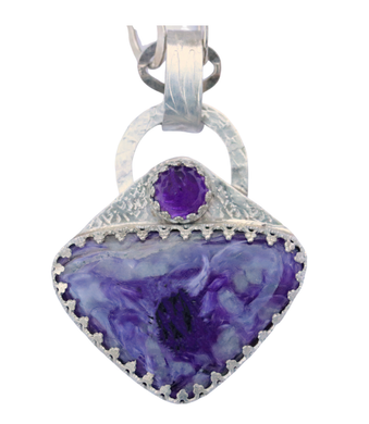 charoite and amethyst pendant