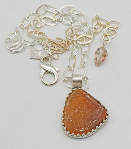 druzy pendant shown with full silver chain