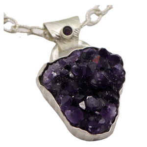 Buried Treasure Amethyst Geode Pendant. Sterling Silver.