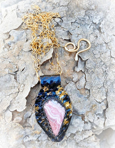 "Golden Steel Natural Rhodochrosite Pendant. 2"" tall"