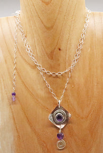 amethyst spiral pendant worn doubled up