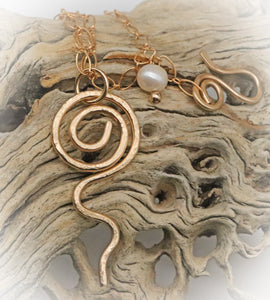 "Gold Fill Pendant. Sacred Spiral Collection 2"" long."