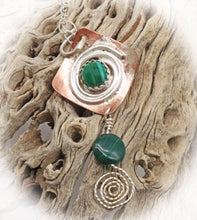 Load image into Gallery viewer, sacred spiral pendant in malachite