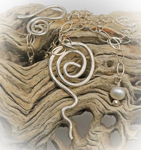 "Fine Silver Pendant. Sacred Spiral Collection 2"" long."