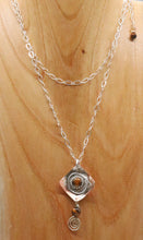 Load image into Gallery viewer, spiral pendant worn doubled up