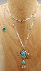 turquoise  PENDANT WORN DOUBLED UP