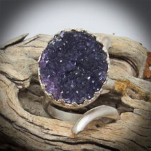 Load image into Gallery viewer, Handmade in Arizona amethyst geode ring