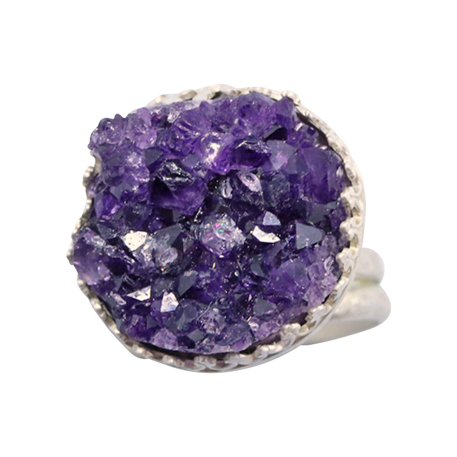 handmade amethyst geode ring in sterling silver