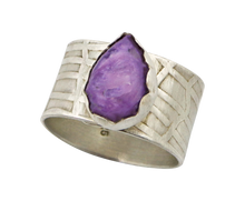 Load image into Gallery viewer, Russian charoite gemstone sterling ring is one of a kind