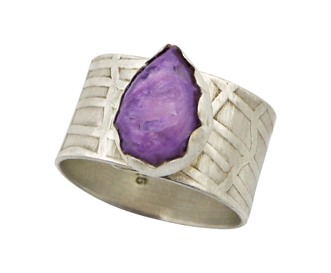 Russian charoite gemstone sterling ring is one of a kind