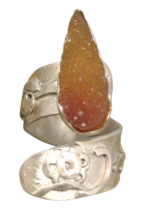 sterling ring is one of a kind with druzy gemstone