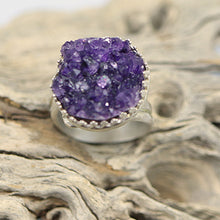Load image into Gallery viewer, amethyst geode sterling ring is one of a kind