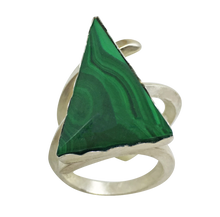 Load image into Gallery viewer, green malachite gemstone ring in sterling silver