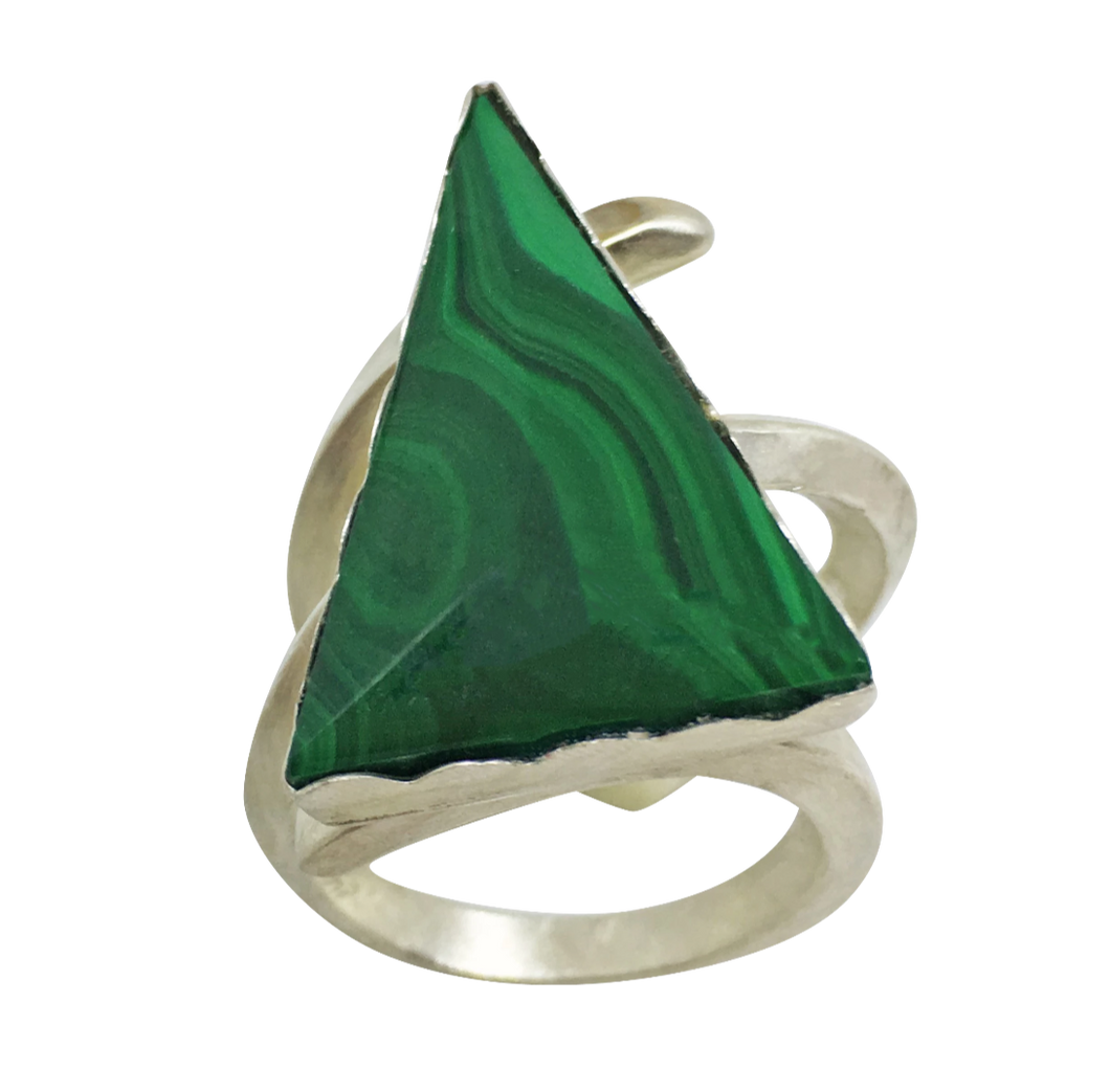 green malachite gemstone ring in sterling silver