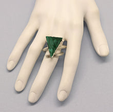 Load image into Gallery viewer, triangle shaped beveled gemstone ring shown on a hand