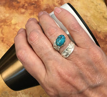 Load image into Gallery viewer, Turquoise & Sterling silver. Dare to Dream Collection Size 6 1/2 adjustable to 7 1/2