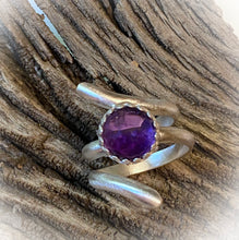 Load image into Gallery viewer, Sterling and amethyst Ring. Sacred Spiral Collection. assorted sizes