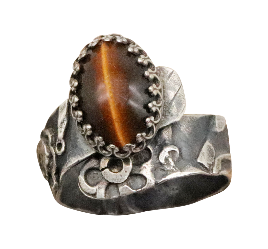 antiqued silver gemstone ring