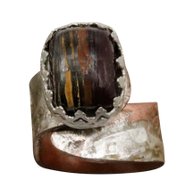 Load image into Gallery viewer, tiger iron gemstone rustic ring