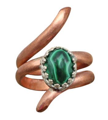 copper sacred spiral ring malachite