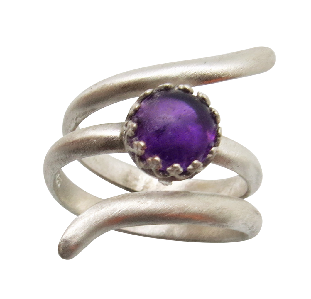 Sterling and amethyst Ring. Sacred Spiral Collection. assorted sizes