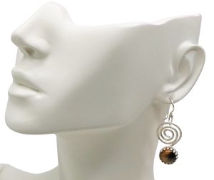 tigers eye earring shown on ear lobe