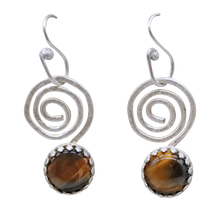 Load image into Gallery viewer, spiral sterling earrings with tigers eye