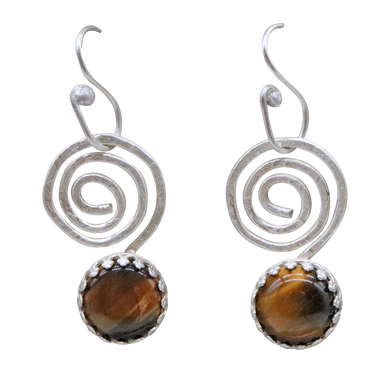 spiral sterling earrings with tigers eye