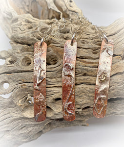"Copper & Sterling Silver skinny Pendant. Dare to Dream Collection. 2"" tall"