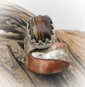 tiger iron gemstone ring