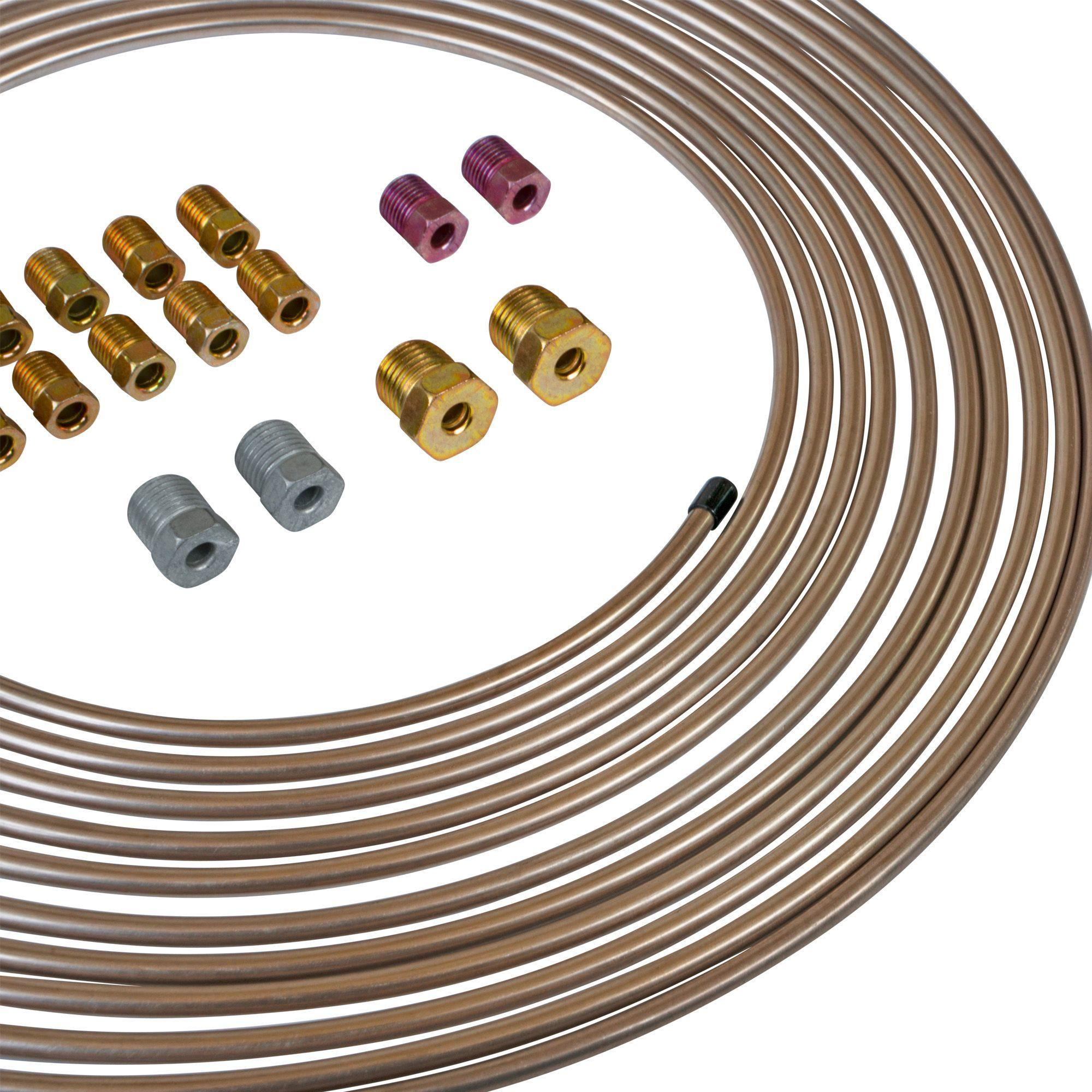 Fuel Line Tube Coil Transmission Line Tube Coil SHINEHOME 25 Ft 3//16 Brake Line Tubing Coil Roll with 16 Fittings Plugs