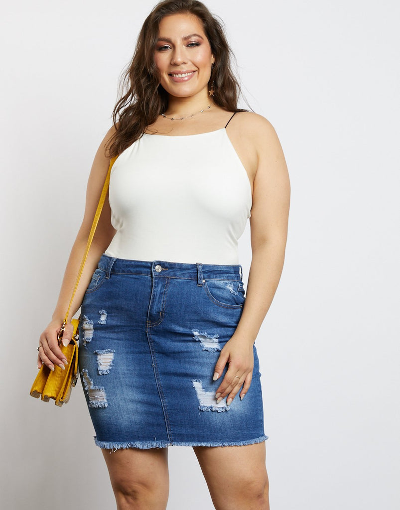 Curve Distressed Denim Skirt