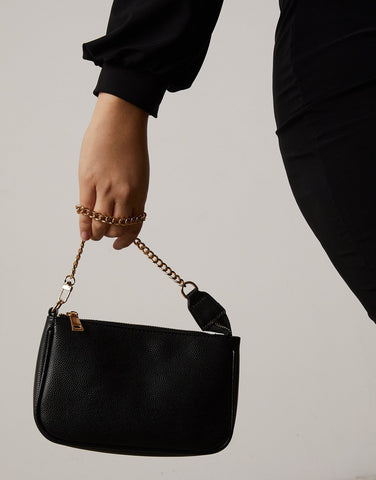 Chain Strap Mini Baguette Bag
