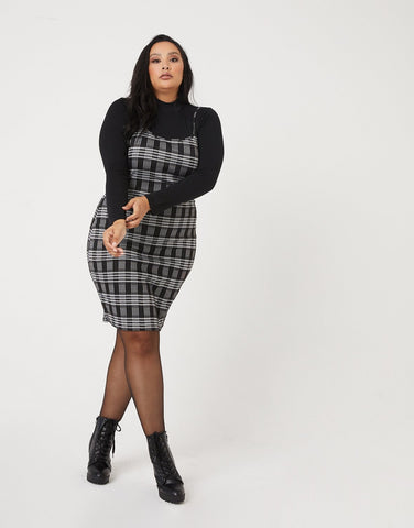 Curve Fitted Plaid Dress