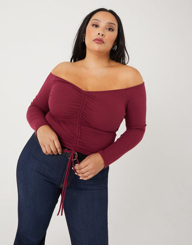 Curve Ruched Long Sleeve Top