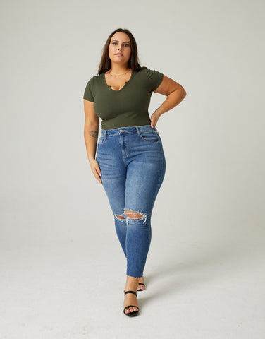Curve Distressed Knee Mom Jeans